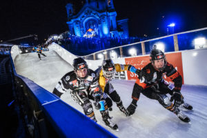 Scott Croxall of Canada, Kyle Croxall of Canada, Marco Dallago of Austria and Luca Dallago of Austria compete during the finals at the third stage of the ATSX Ice Cross Downhill World Championship at the Red Bull Crashed Ice in Saint Paul, Minnesota, United States on February 4, 2017.