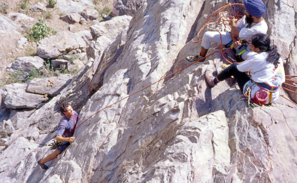 Alka and Paramjeet were part of developing Dhauj as one of main trad climbing crags near Delhi in 1990s (photo Derek Stordahl)