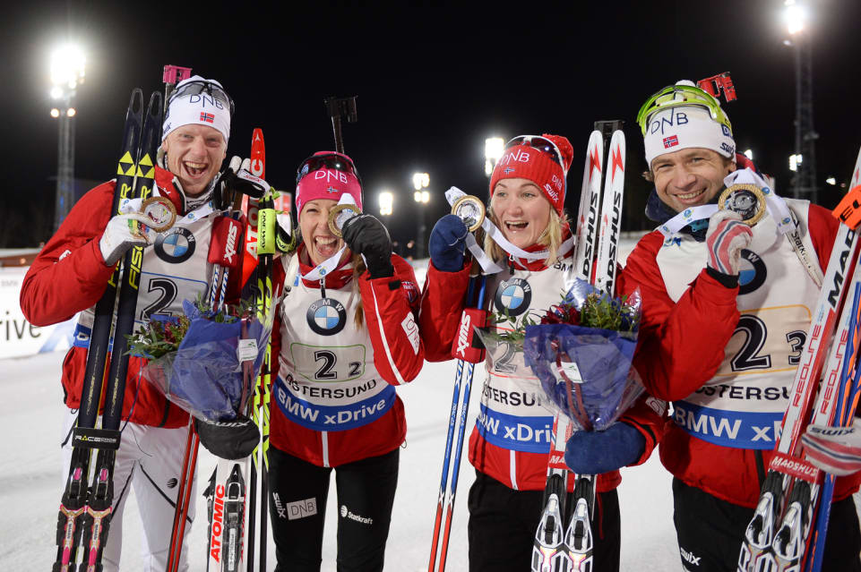 2016 Mixed Relay results—Gold: France; Silver: Germany; Bronze: Norway