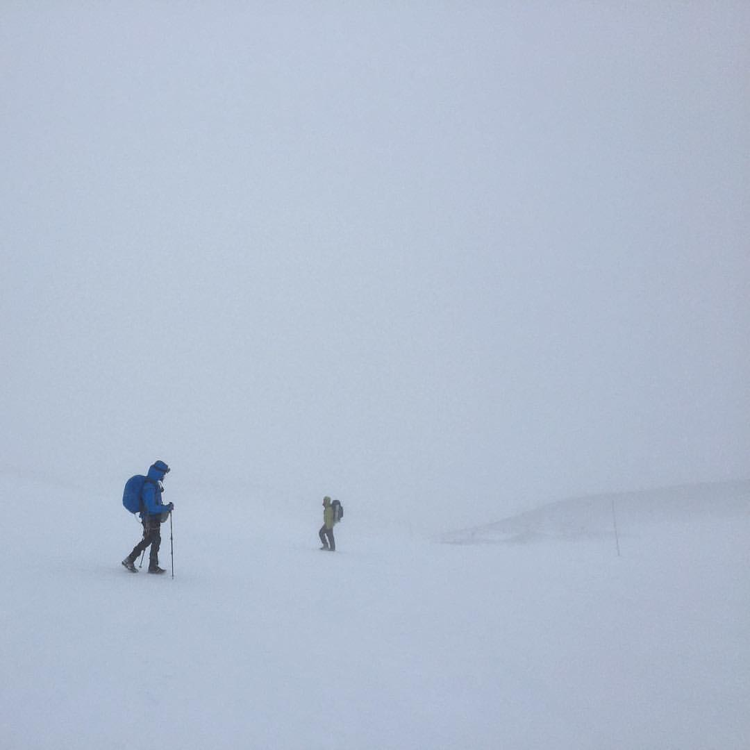 Hiking Osorno volcano in near zero visibility. Photo: Madhuri Chowdhury