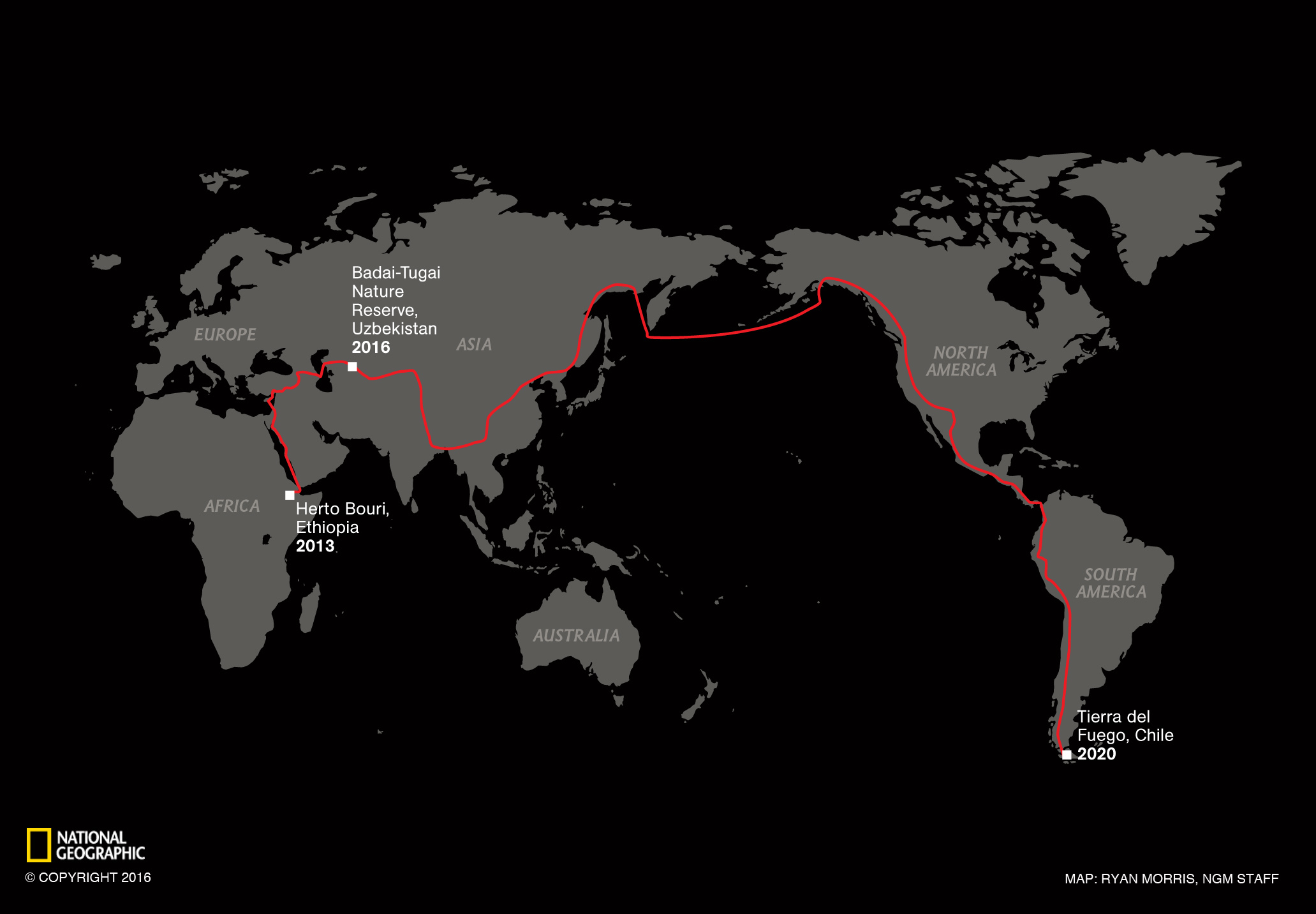 Map of Paul Salopek's Out of Eden Walk Journey.Credit: Ryan Morris/National Geographic
