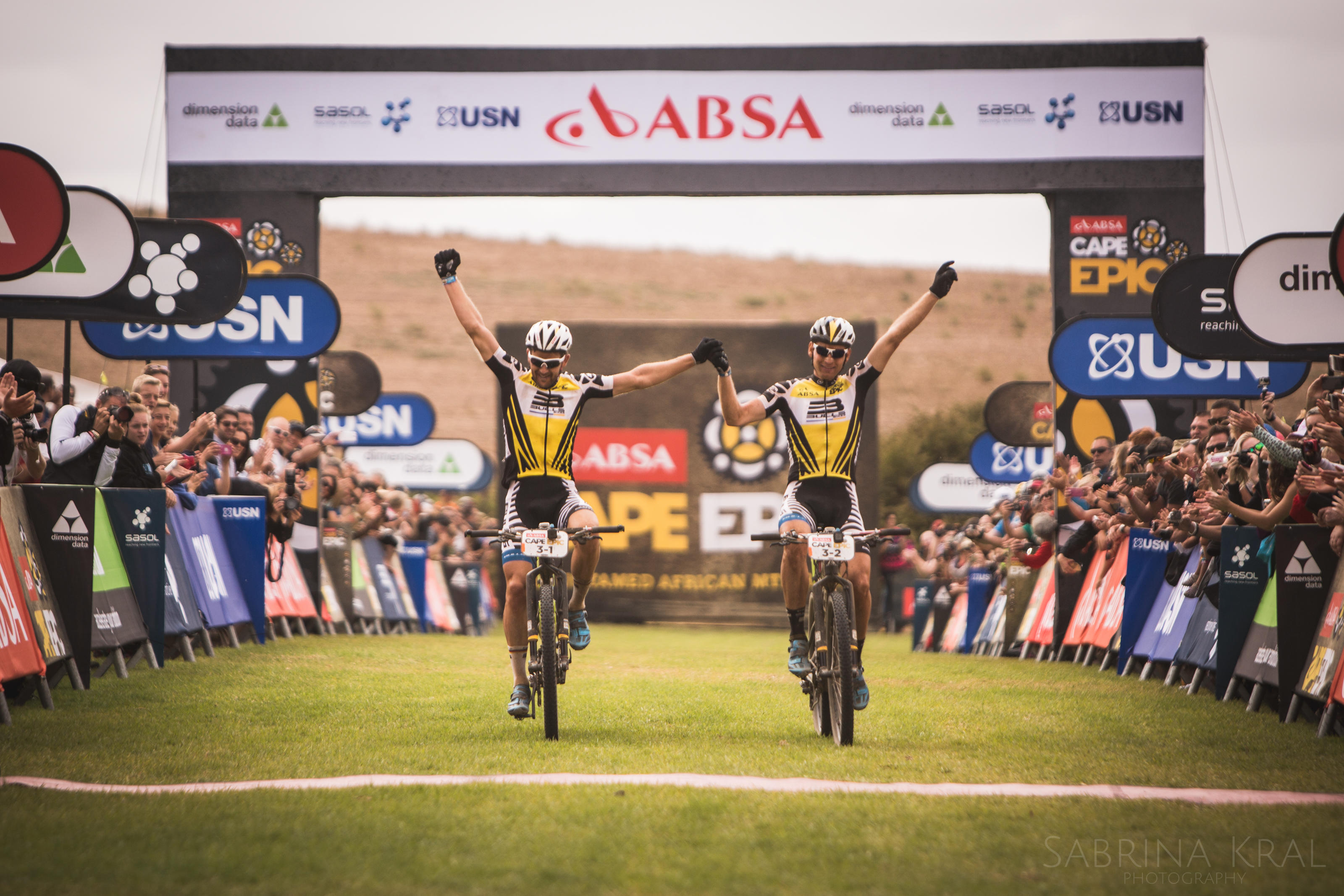 Karl and his partner at the finish line of the Cape Epic. Image ©: Sportograf