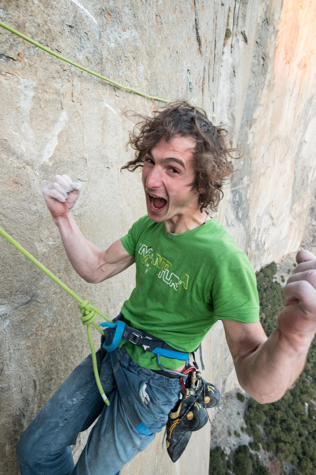 Adam Ondra celebrating after he finished the most difficult pitches of the climb. Photo Courtesy Heinz Zak/ Black Diamond Equipment