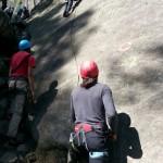 Belaying a one-pitch climbi