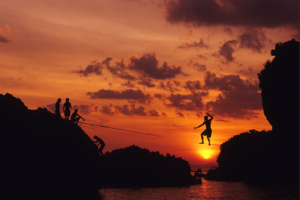 Dawn Kish slacklining sunset