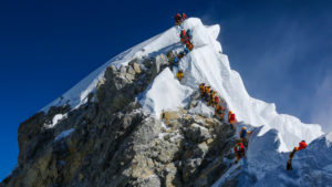 Died on the way down from Mount Everest A roped happens the