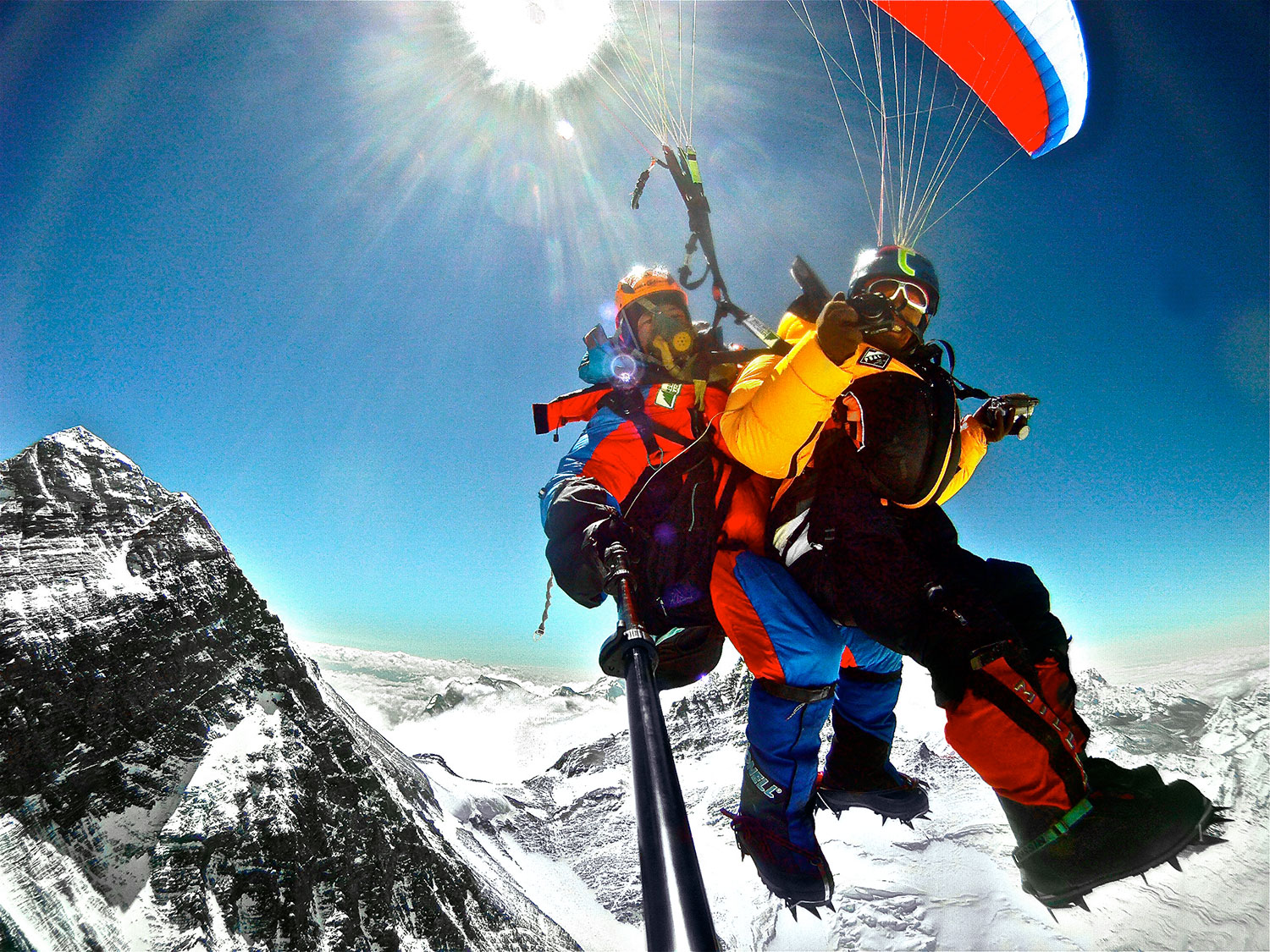 Taken with a GoPro, Sano Babu Sunuwar and Lakpa Tsheri Sherpa soar away from Mt. Everest, seen in the background. PHOTO: SANO BABU SUNUWAR