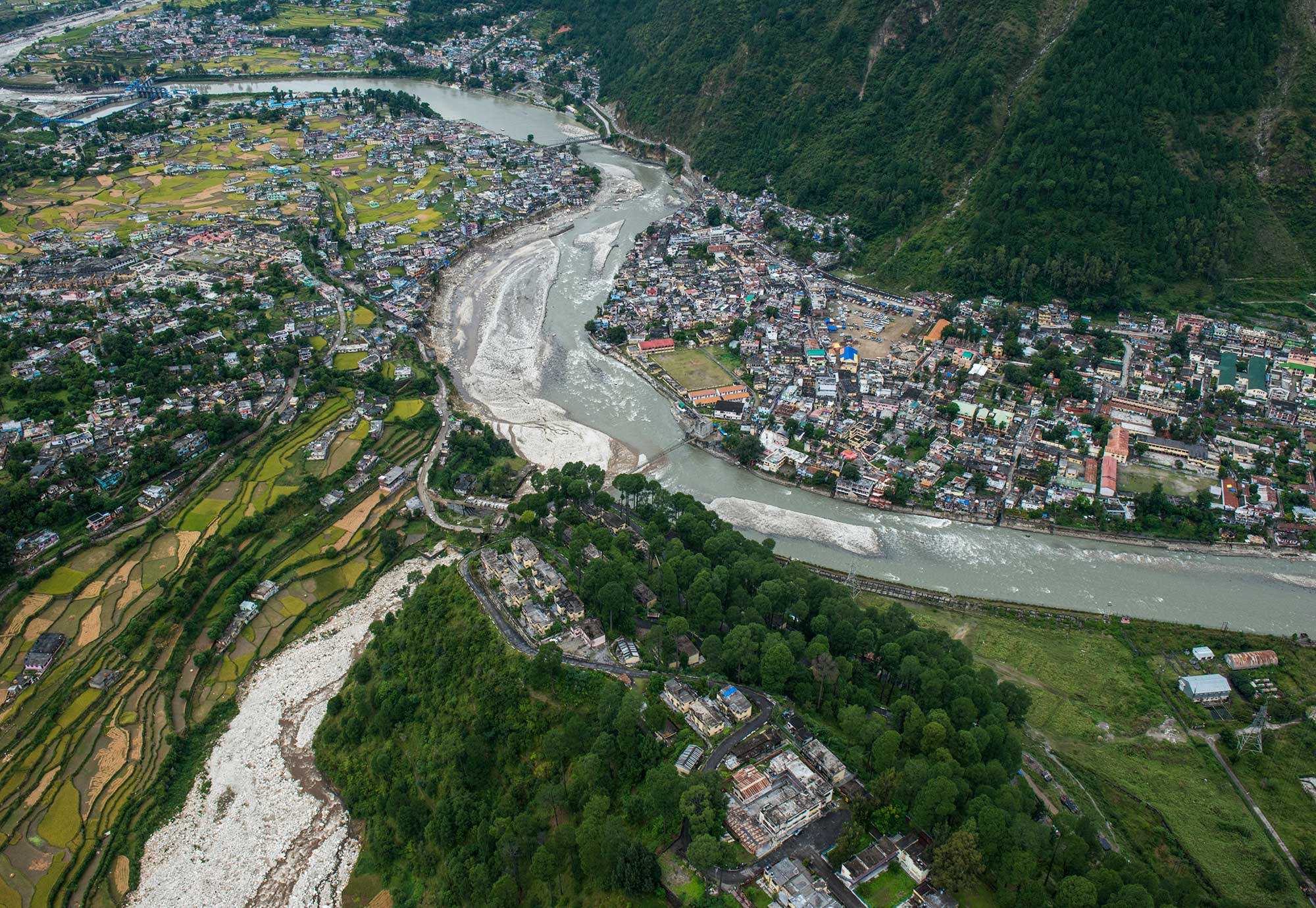 Aerial Image of the Ganges as it winds through the Uttarkashi region in the foothills of the Himalaya. In 2013, a record flood devastated this region, wiping roads and villages off the map, killing 6000 and leaving 30,000 stranded.