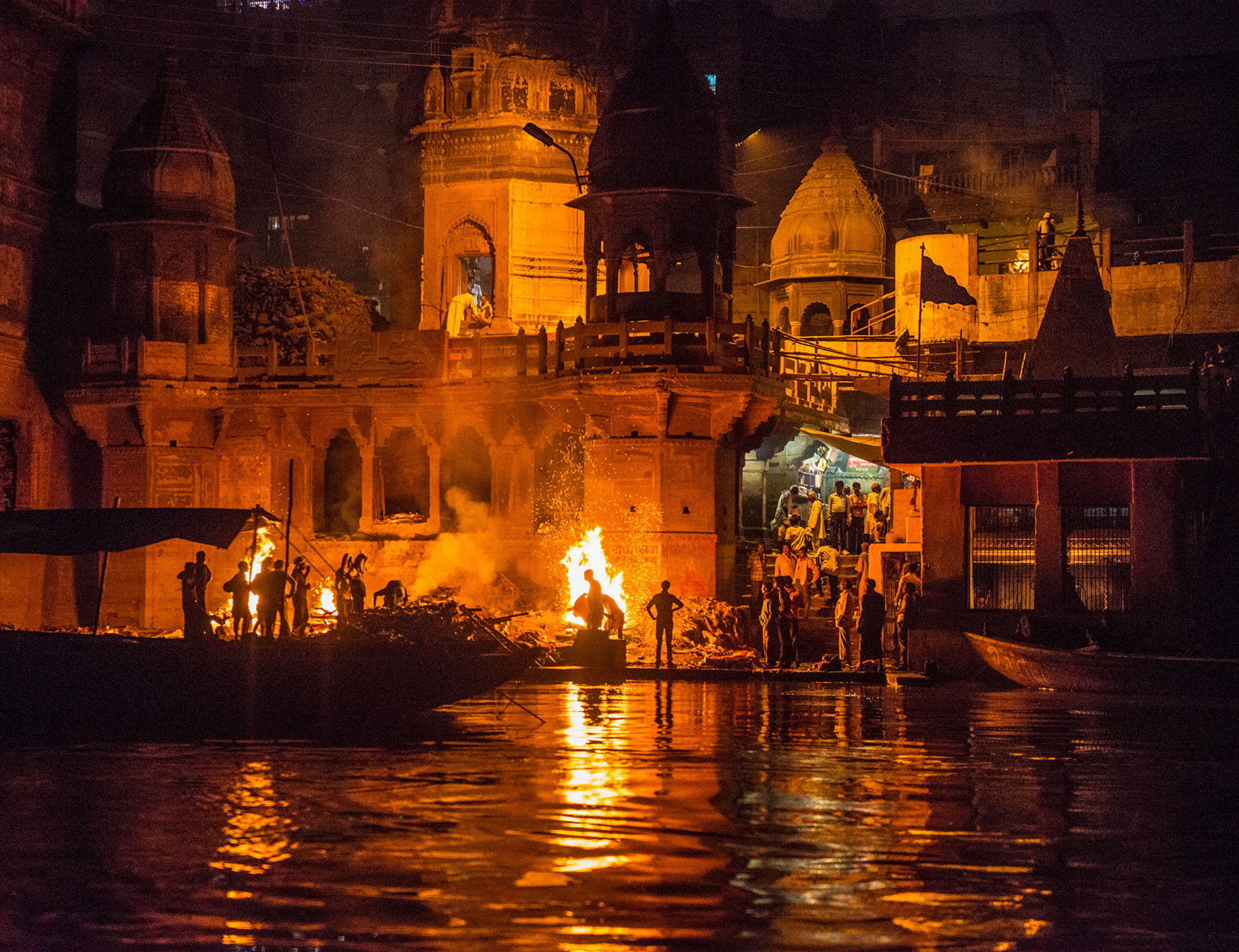 In Varanasi, India, funeral pyres run 24 hours a day. Many Hindu come to this ancient city to die since it is believed you will break the cycle of death and rebirth if your ashes are laid in the Ganges here. Many can't afford the funeral costs so many bodies are not properly cremated. Demand for wood has also taxes many of the Himalayan forests upstream.