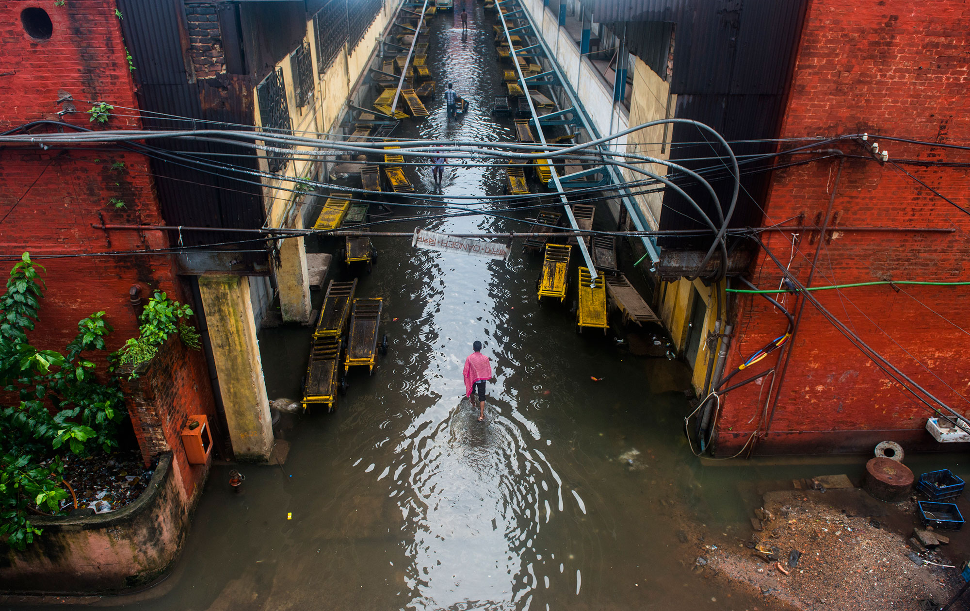 Heavy rains from a cyclone, flood the streets of Calcutta, a city quite used to flooding due to its proximity to the Ganges River.