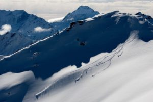 Heli skiing BlackPeak, NZ. Photo by Camilla Rutherford