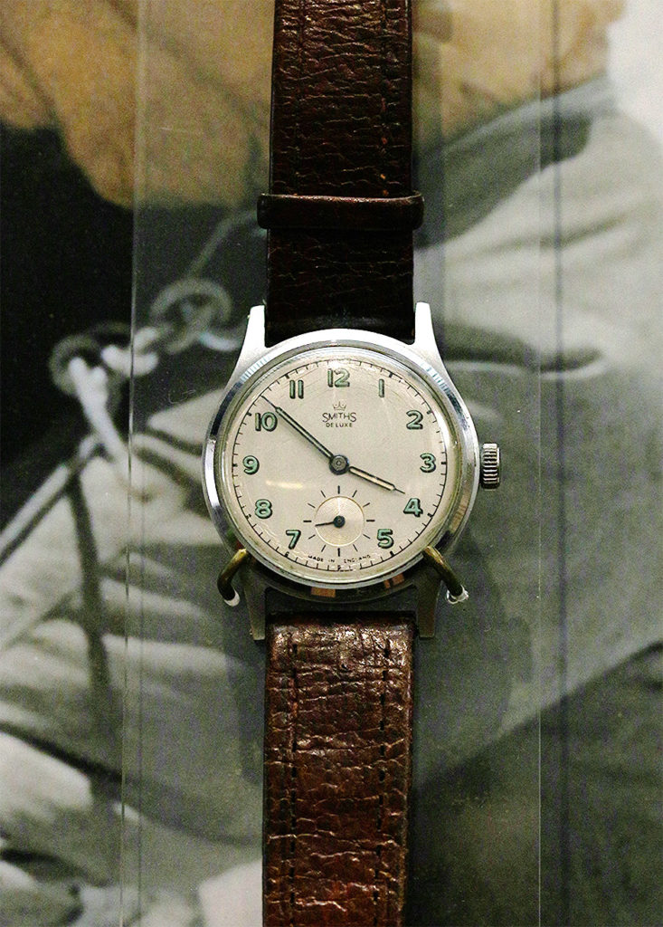"""Presented to the Clockmakers Museum around October 1953 by Sir Edmund Hillary, after wearing it on his ascent up the mountain. The watch is a Smiths De Luxe 15 jewel movement in a steel waterproof case by the Dennison Watch Case Company. It was originally oiled with a special lubricant to withstand low temperatures- on his return Hillary had reported to Smiths that he had been very satisfied with the watch. The watch is on display in the Clockmakers Museum at the Science Museum London"" - Anna Rolls, Curator of the Clockmakers' Museum, in an email to The Outdoor Journal."