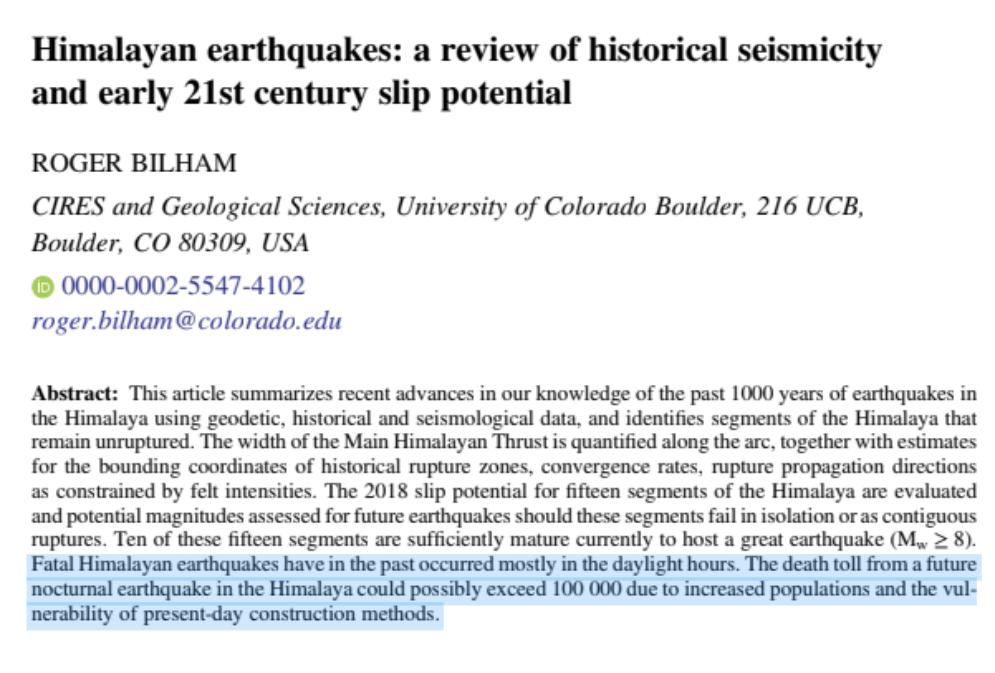 Himalayan Seismicity_Roger Bilham