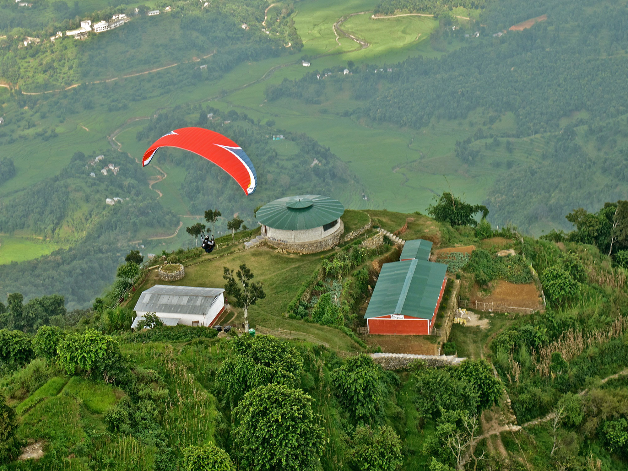 An aerial view of Sano Babu's Resort and Adventure School that offers paragliding courses for people at all levels. PHOTO: SANO BABU SUNUWAR