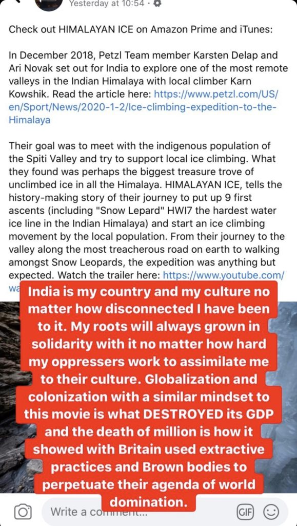 """India is my country and my culture no matter how disconnected I have been to it. My roots will always grow in solidarity with it no matter how hard my oppressors work to assimilate me in their culture. Globalization and colonization with a similar mindset to this movie is what DESTROYED its GDP and the death of millions is how it showed with Brain used extractive practices and Brown bodies to perpetuate their agenda of world domination""."