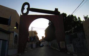 Key of Return at the entrance of Aida refugee camp