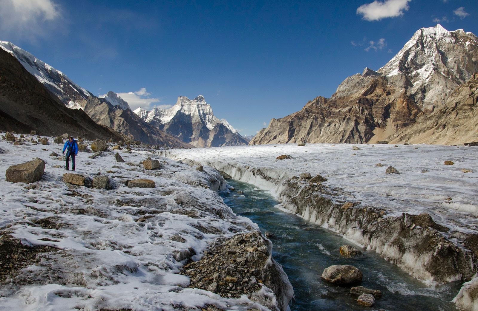 Dave Morton at 17000 ft near top of Gangotri glacier below Chaukhamba iv - near virtual source of Ganges.