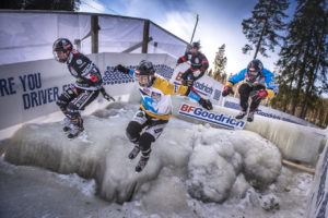 Scott Croxall of Canada, Kyle Croxall of Canada, Marco Dallago of Austria and Luca Dallago of Austria perform at the second stage of the ATSX Ice Cross Downhill World Championship at the Red Bull Crashed Ice in Jyvaskyla-Laajis, Finland on January 20, 2017.