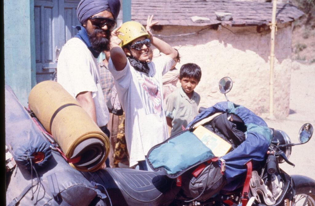 On the bike with all the gear on way to climb Mt.Ali Ratni Tibba in Kullu