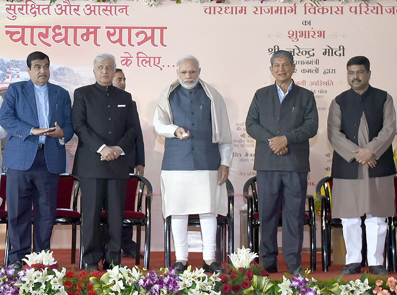 The Prime Minister, Shri Narendra Modi launching the Char Dham Rajmarg Vikas Pariyojna, at Dehradun, Uttarakhand on December 27, 2016...The Governor of Uttarakhand, Dr. K.K. Paul, the Union Minister for Road Transport & Highways and Shipping, Shri Nitin Gadkari, the Chief Minister of Uttarakhand, Shri Harish Rawat and the Minister of State for Petroleum and Natural Gas (Independent Charge), Shri Dharmendra Pradhan are also seen..
