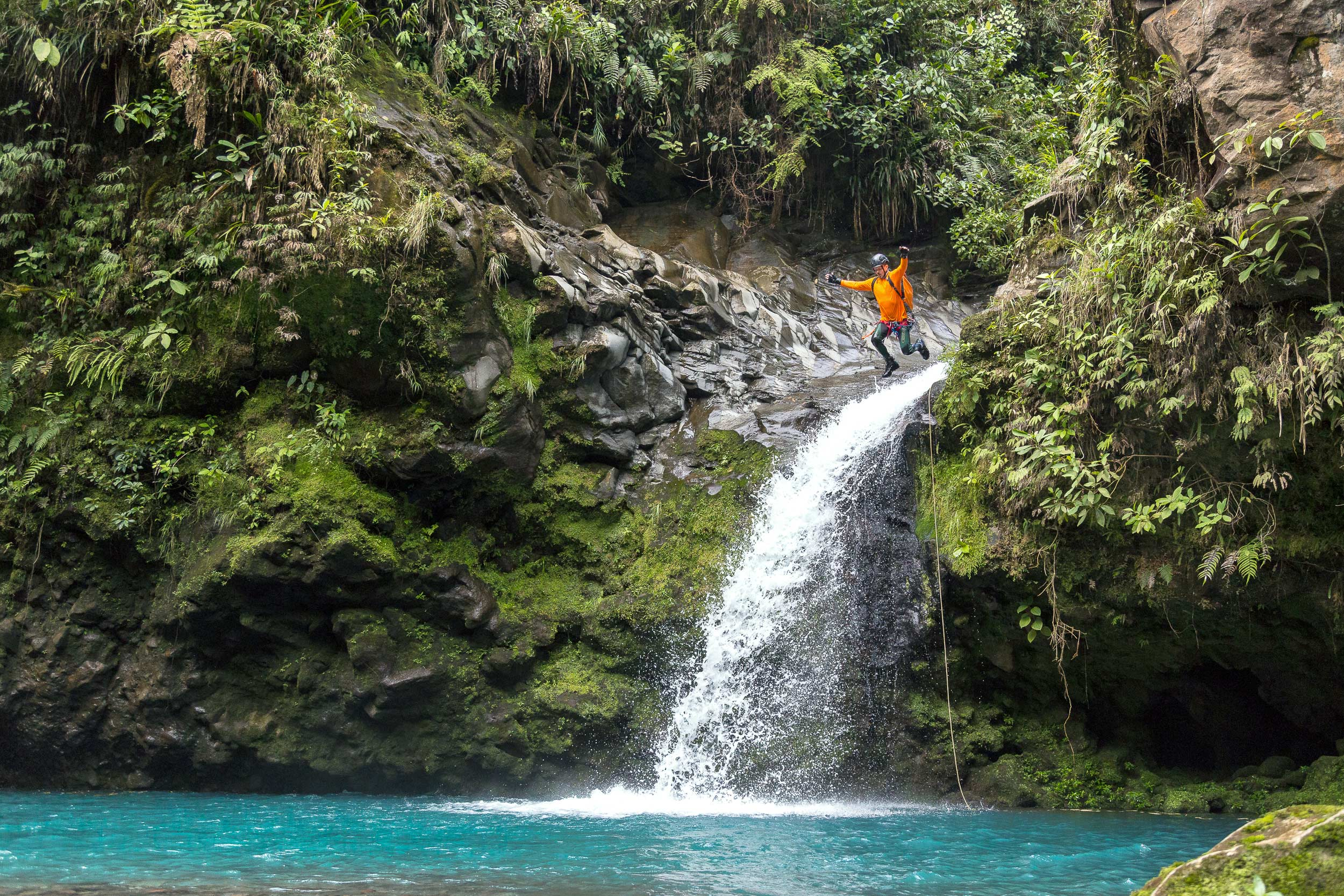 Scott jumps into one of the many emerald pools of Gata Fiera canyon. Photo: Victor Hugo Carvajal