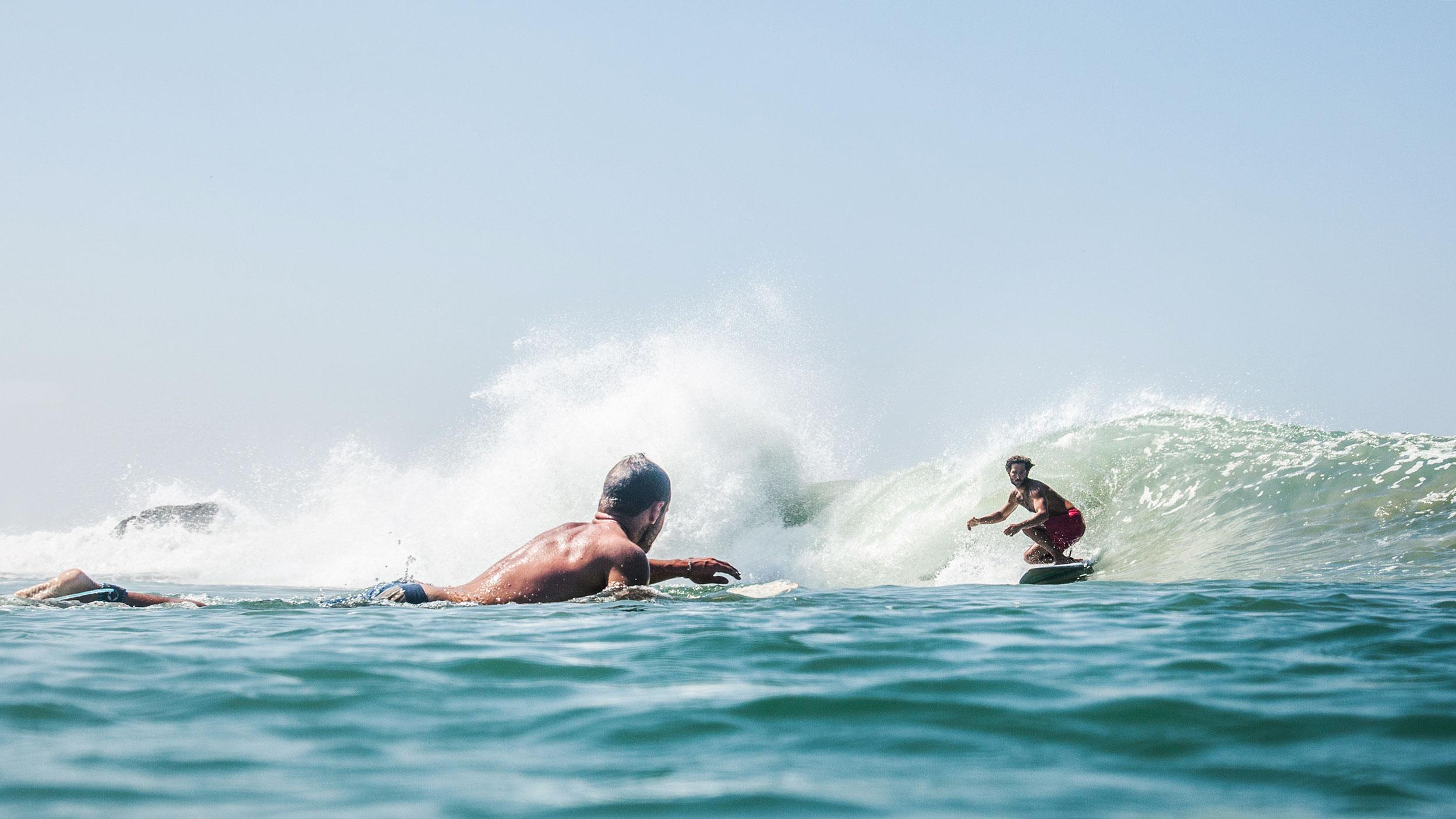 Franco negotiates a wave at Edawa beach. PHOTO: Berta Tilmante