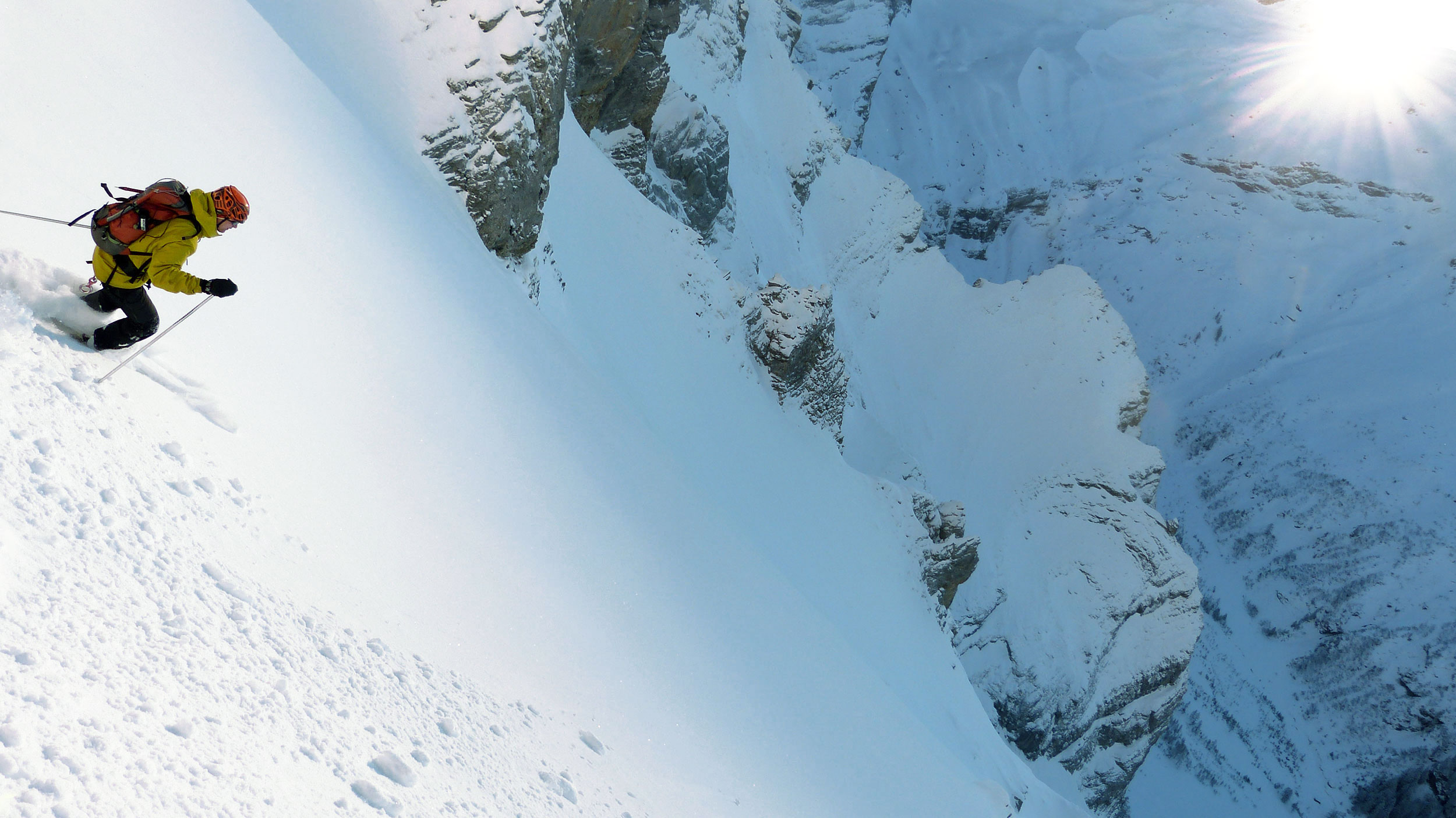 Gilles Bornet on the first descent of the West Face of the Grand Muveran, Switzerland. After Gilles' death, I took more to skiing alone. Photo: Sebastien de Saint Marie.