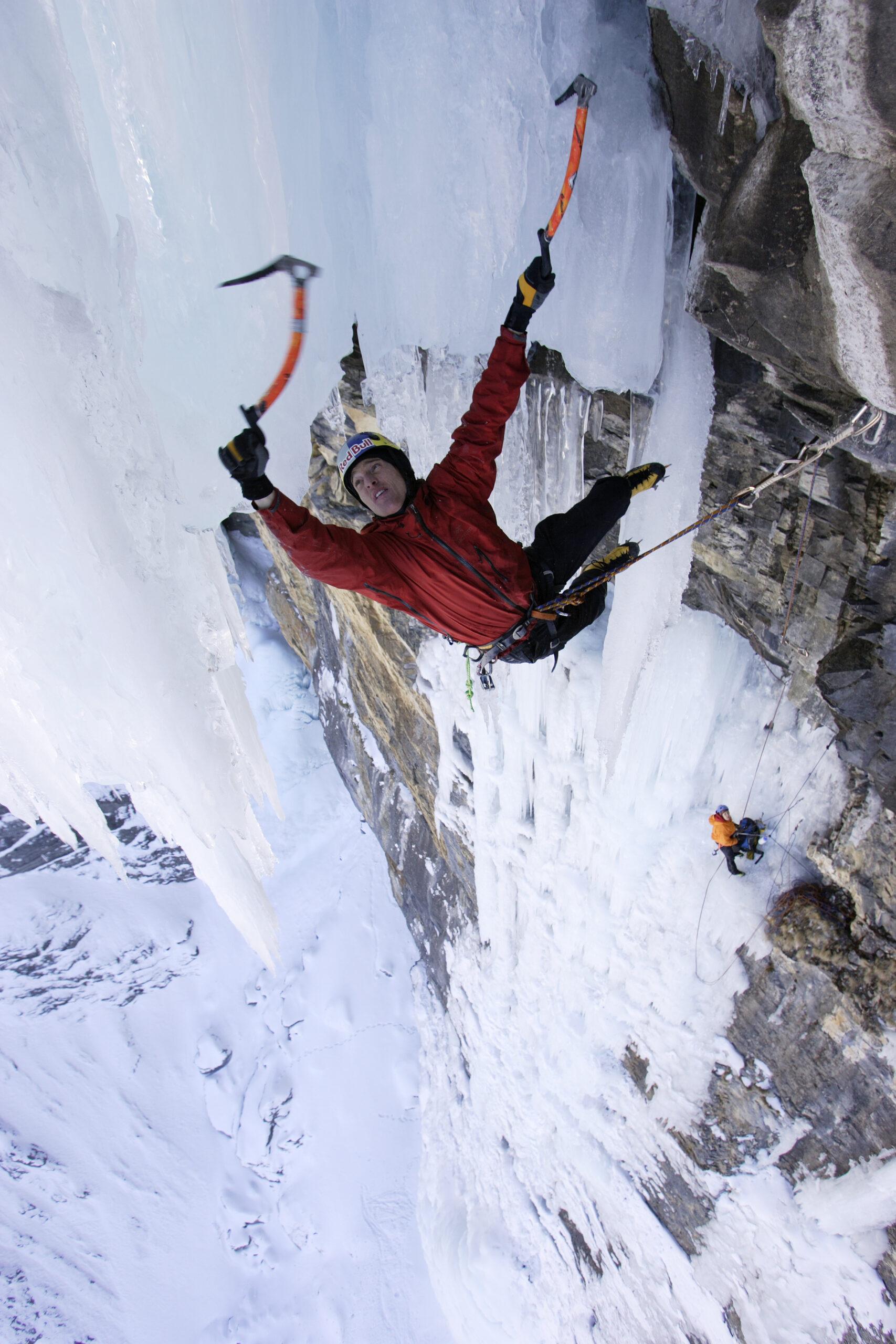 """Photographer: Klaus Fengler Athletes: Will Gadd, Ines Pappert Location: Route """"Mach 3/M9"""", Kandersteg, Breitwangflue, Switzerland"""