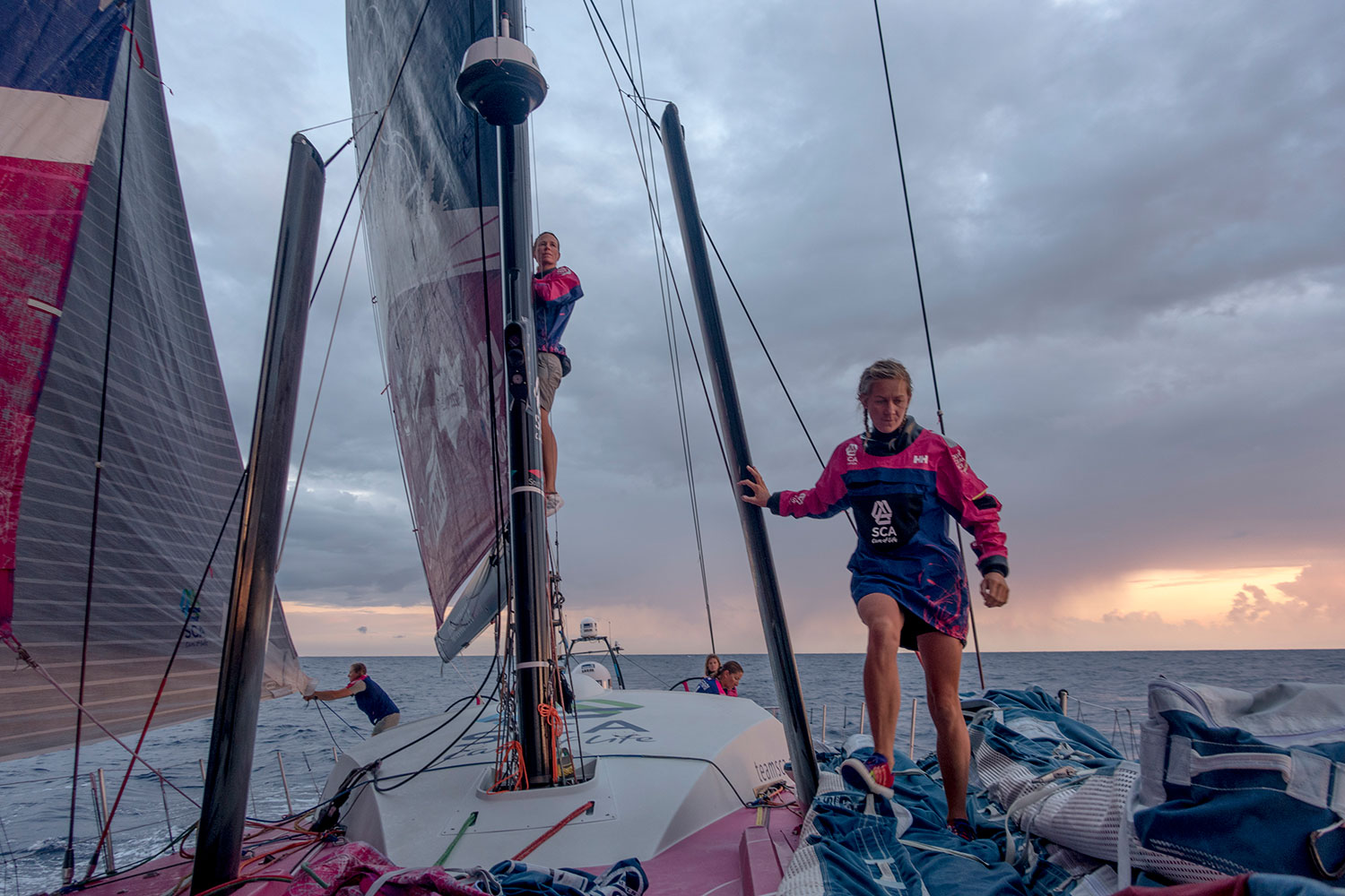 "Carolijn Brouwer searches for breeze from the boom as Sophie Ciszek heads forward with her weight. Each team must have at least two ""under 30"" sailors. PHOTO: CORINNA HALLORAN / TEAM SCA / VOLVO OCEAN RACE"