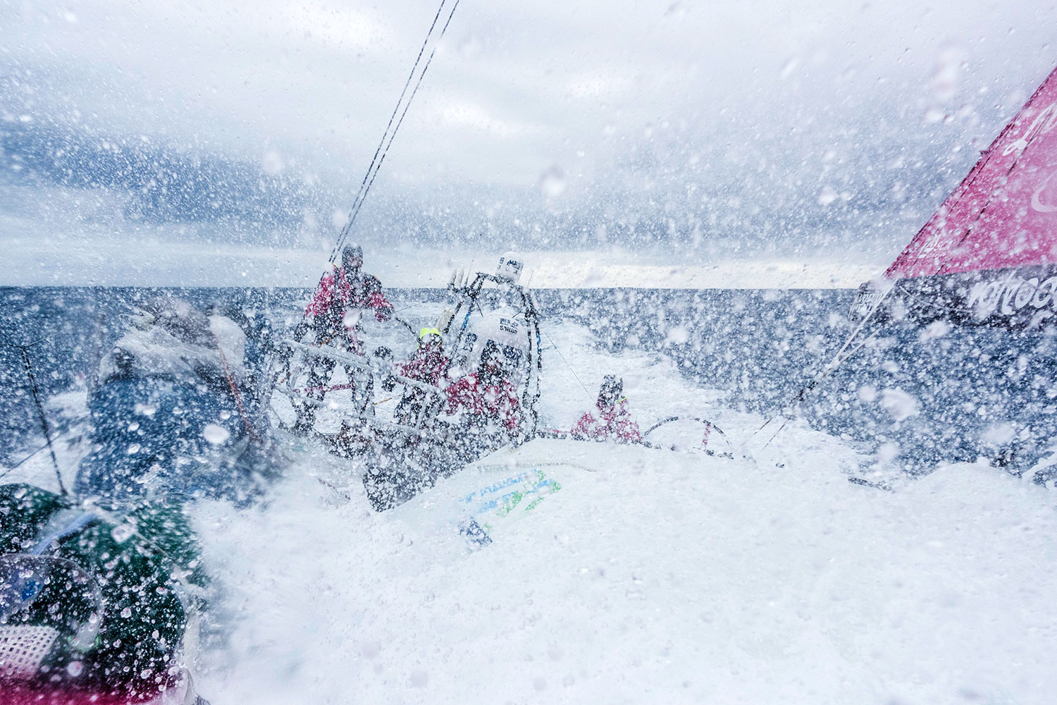 March, 2015. Leg 5 onboard Team SCA, from New Zealand to Brazil through the Southern Ocean. We're leaving behind the remnants of Cyclone Pam and heading into the most remote part of the world. Wind and swell have picked up and it's getting very cold and wet on deck. PHOTO: ANNA-LENA ELLED / TEAM SCA / VOLVO OCEAN RACE