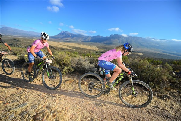 Last year's women's winners, Jennie Stenerhag (front) and Robyn de Groot, will be back, but in different teams and categories at the Momentum Health Tankwa Trek. Photo credit: www.zcmc.co.za