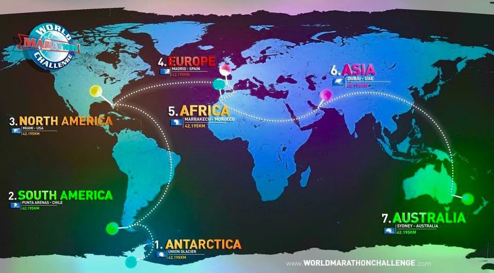 World Marathon Challenge race map.