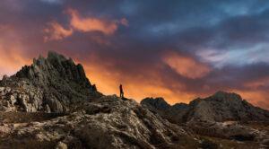 Sunset along the Croatian mountain ridge